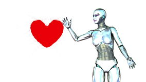 Robot girl generates a heart Royalty Free Stock Image