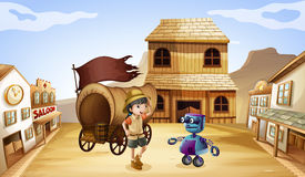 A robot and a girl near the wagon Royalty Free Stock Photo