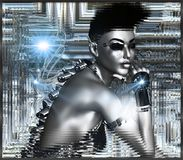 Robot girl on siver abstract background. Sexy android on silver abstract background in a silver frame.  Her punk hairstyle and metallic skin show this futuristic Stock Photo
