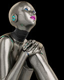 Robot girl thinking cabout close up Royalty Free Stock Image