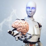 Robot is giving the brain Royalty Free Stock Photo