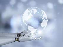 Robot with global connection. Globalization technology concept with 3d rendering robot with global connection stock photography