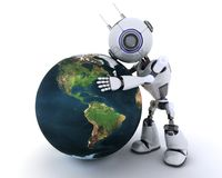 Robot with globe Stock Photo
