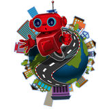 Robot on the globe Stock Photography