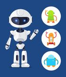 Robot with Glowing Eyes Set Vector Illustration. Robot with glowing eyes, set of robots, robotic creature waving and being friendly, circle icons vector royalty free illustration