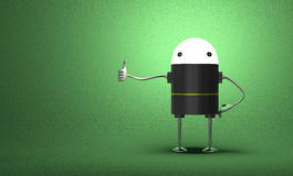Robot with glowing head giving thumb up Stock Images