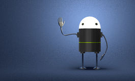 Robot with glowing head waving hand Stock Image