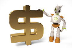 Robot with gold dollar sign,3D illustration. Royalty Free Stock Photos