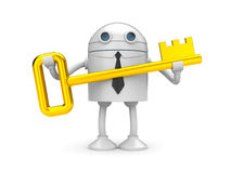 Robot with gold key. Business metaphor. Isolated on white Stock Photos
