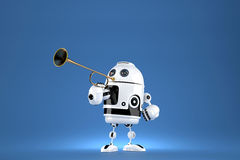 Robot with golden trumpet. 3D illustration. Proclaiming a special occasion. Contains clipping path Stock Photos