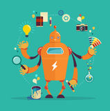 Robot graphic designer - creative thinking stock illustration