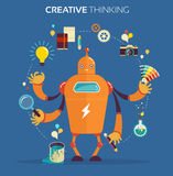 Robot graphic designer - creative thinking Stock Photos