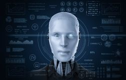 Robot with graphic display. 3d rendering humanoid robot with digital graphic display stock illustration