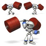 A robot with great power. He is weight lifting. 3D illustration Stock Image