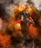 Robot with gun and smoke background. 3D illustration of a robot with gun, ruins and smoke background royalty free illustration