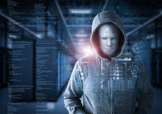 Robot hacker in server room. 3d rendering humanoid robot as a hacker in server room Stock Photo