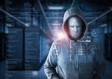 Robot hacker in server room vector illustration
