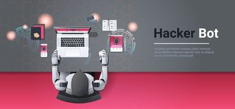 Robot hacking digital devices computer hacker bot concept data privacy attack internet information security artificial. Intelligence top angle desktop warkplace vector illustration
