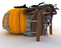 Robot in Halloween Pumpkin Cottage Stock Photo