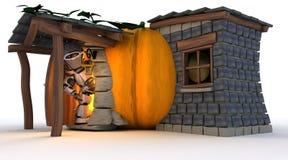 Robot in Halloween Pumpkin Cottage Stock Photos