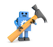 Robot with hammer Royalty Free Stock Photos