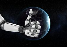 Robot hand against globe in background Stock Images