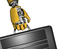 Robot hand and briefcase Royalty Free Stock Images