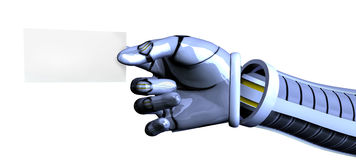 Robot Hand with Business Card - with clipping path. 3D render of a robot hand offering a blank business card - with clipping path Stock Photo