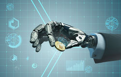 Robot hand in business suit holding bitcoin between fingers Stock Photos