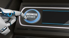 Robot Hand Button Business Start royalty free stock photography