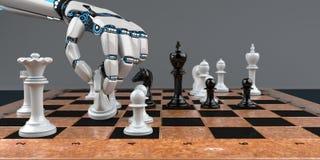 Robot Hand Chessboard royalty free stock photo