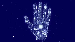 Robot hand with CPU microchips. Hi-tech 3d illustration of a shining brainy robot hand with embedded CPU microchips, devices, and circuits of light blue color in Royalty Free Stock Images