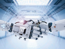 Robot hand or cyborg hand shaking. 3d rendering robot hand or cyborg hand shaking Royalty Free Stock Images