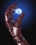 Robot hand and Earth Globe Royalty Free Stock Photos