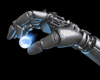Robot hand and Earth globe Stock Images