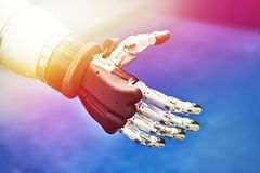 Robot hand. Futuristic electronic robot hand closeup stock photo