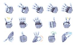 Robot hand gestures. Robotic hands. Mechanical technology machine engineering symbol. Hand gestures set. Big robot arm. Robot hand gestures. Robotic hands royalty free illustration