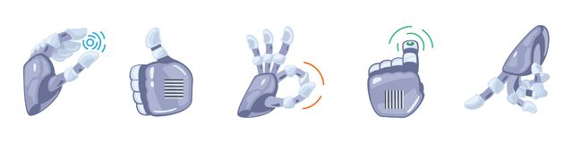 Robot hand gestures. Robotic hands. Mechanical technology machine engineering symbol. Hand gestures set. Signs. Robot hand gestures. Robotic hands. Mechanical vector illustration