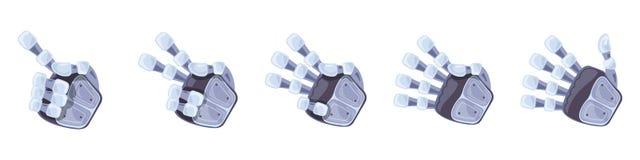 Robot hand gestures. Robotic hands. Mechanical technology machine engineering symbol. Hand gestures set. Signs. royalty free illustration