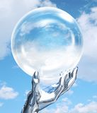 Robot hand with globe. Conceptual illustration of a robotic hand holding a glass globe Stock Photo