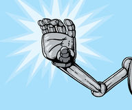 Robot hand grabbing or reaching. Robot hand holding something or can be reaching out for you Royalty Free Stock Image
