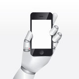 Robot hand hold smartphone design vector illustration concept. Stock Photo