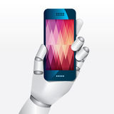 Robot hand hold smartphone design vector illustration. Stock Images