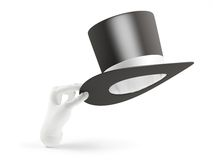 Robot hand holding black cylinder hat Royalty Free Stock Photography