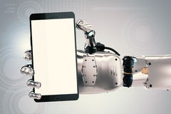 Robot hand holding blank screen mobile phone Stock Photos