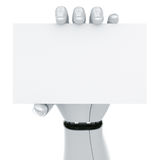 Robot hand holding a blank sign. 3d rendering of a robot hand holding a blank sign Stock Photos