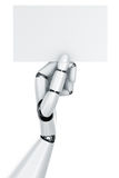 Robot hand holding a blank sign Stock Images