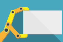 Robot hand holding blank sign with space for text. Royalty Free Stock Images