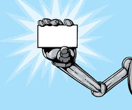Robot hand holding card Royalty Free Stock Images