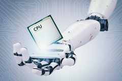 Robot hand holding cpu chip Stock Image